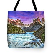 Cascades In Patagonia Painting Tote Bag