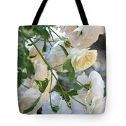Cascading White Roses Tote Bag
