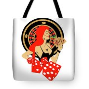 Casino Logo With Red Hair Girl, Dices, Roulette Wheel And Cards, Tote Bag