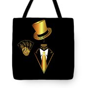 Casino Logo With Skull Icon And Cards, Gold And Black Color Tote Bag