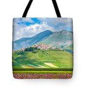 Castelluccio Di Norcia With Beautiful Summer Fields Tote Bag