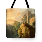 Castle And Waterfall Tote Bag