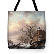 Castle In A Winter Landscape And Skaters On A Fozen River Tote Bag