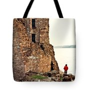 Castle Ruins On The Seashore In Ireland Tote Bag