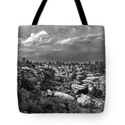 Castlewood Canyon And Storm - Black And White Tote Bag