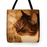 Cat And Clock Tote Bag