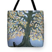 Cat And Crow Tote Bag