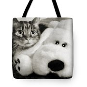Cat And Dog In B W Tote Bag