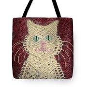 Cat And Flowers. Macrame Art Tote Bag
