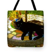 Cat And Table Tote Bag