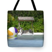 Cat At The Beach Tote Bag