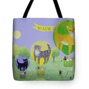 Cat Balloon Race Tote Bag