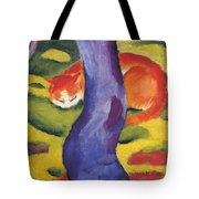 Cat Behind A Tree Tote Bag