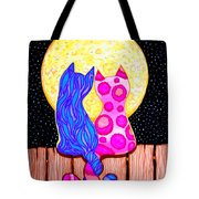 Cat Couple Full Moon Tote Bag