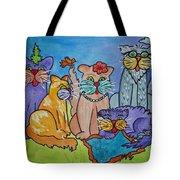 Cat Family Gathering Tote Bag