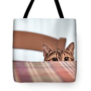Cat Hiding Under The Table Tote Bag