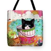 Cat In A Pail Tote Bag