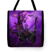 Cat In Goth Witch Hat Tote Bag