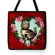 Cat In Heart Wreath 2 Tote Bag