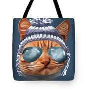 Cat Kitty Kitten In Clothes Aviators Toque Beanie Tote Bag