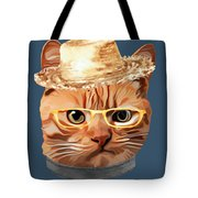 Cat Kitty Kitten In Clothes Yellow Glasses Straw Tote Bag