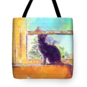 Cat Looking Out The Window Tote Bag