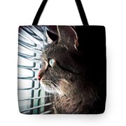 Cat Looking Out Window Tote Bag