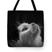 Cat Looking Up Tote Bag