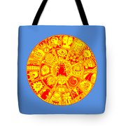 Cat Mandala Yellow And Red Tote Bag