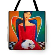 Cat On My Lap Tote Bag