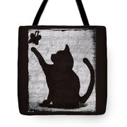 Cat  Shadow  And Butterfly  Tote Bag