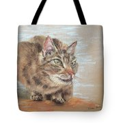 Cat Sitting On Lookout Tote Bag