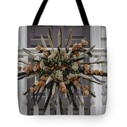 Cat Tail And Chinese Lantern Wreath Tote Bag
