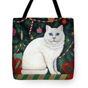 Cat Under The Christmas Tree Tote Bag
