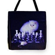 Cat With Chess Board Anbd Mouse Tote Bag
