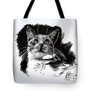 Cat With Ink Tote Bag