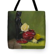 Cat With Rose Tote Bag