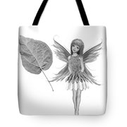 Catalpa Tree Fairy With Leaf B And W Tote Bag