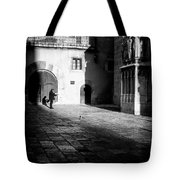Catching Up On The News In Tarragona Spain Bw Tote Bag