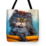 Cat.go To Swim.original Oil Painting Tote Bag