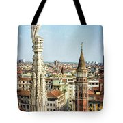 Cathedral And Campanile Milan Italy Tote Bag