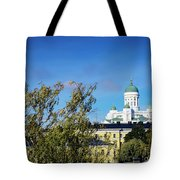 Cathedral Landmark And Central Helsinki View In Finland Tote Bag