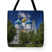 Cathedral Of The Assumption At Trinity Lavra Of St. Sergius In Sergiyev Posad, Russia Tote Bag