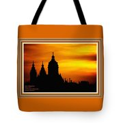 Cathedral Silhouette Sunset Fantasy L A With Decorative Ornate Printed Frame. Tote Bag