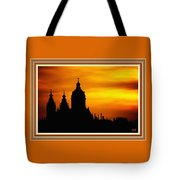 Cathedral Silhouette Sunset Fantasy L B With Decorative Ornate Printed Frame. Tote Bag