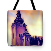 Catholic Church Building, Architectural Dominant Of The City, Graphic From Painting. Tote Bag