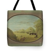 Catlin And Two Companions Shooting Buffalo Tote Bag