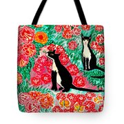 Cats And Roses Tote Bag