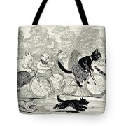Cats In A Bicycle Race, Hyde Park, 1896 Tote Bag