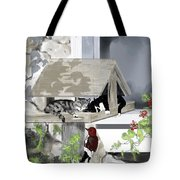 Cats In A Bird Feeder Tote Bag
